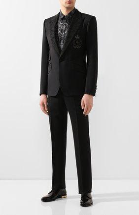 Мужская шелковая рубашка DOLCE & GABBANA темно-серого цвета, арт. G5GZ1T/HS18W   Фото 2