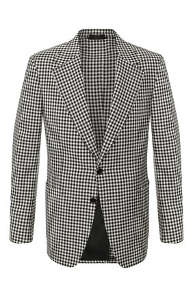 Мужской пиджак из смеси шерсти и шелка TOM FORD черно-белого цвета, арт. 716R07/10SM40 | Фото 1