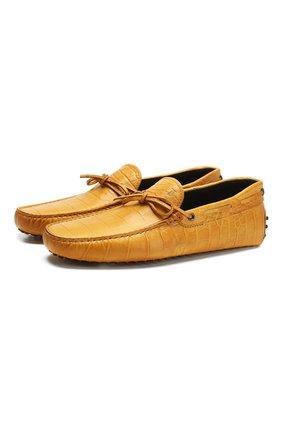 Мужские кожаные мокасины TOD'S желтого цвета, арт. XXM0GW05470SB8 | Фото 1