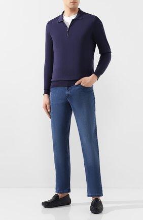 Мужские кожаные мокасины ZILLI темно-синего цвета, арт. MDT-M040/001 | Фото 2