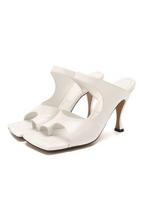 Женские кожаные мюли BOTTEGA VENETA белого цвета, арт. 610521/VBSH0 | Фото 1
