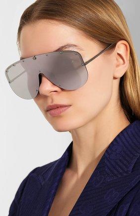 Мужские солнцезащитные очки GUCCI серебряного цвета, арт. 610414/I3330   Фото 2