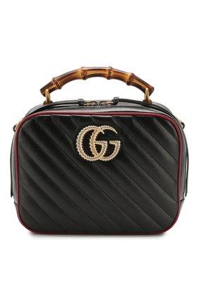 Женская сумка gg marmont small GUCCI черного цвета, арт. 602270/00LFX | Фото 1