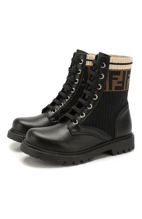 Детские кожаные ботинки FENDI черного цвета, арт. JMR329/A8CU/27-31 | Фото 1