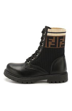 Детские кожаные ботинки FENDI черного цвета, арт. JMR329/A8CU/27-31 | Фото 2