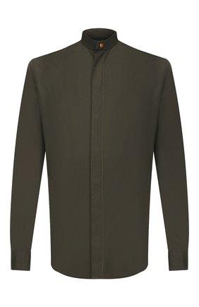 Мужская хлопковая рубашка GIORGIO ARMANI хаки цвета, арт. 0SGCCZ10/TZ567 | Фото 1