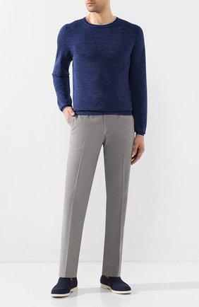 Мужской джемпер из смеси шерсти и шелка FIORONI синего цвета, арт. MK20361A2 | Фото 2