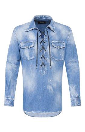 Мужская джинсовая рубашка DSQUARED2 синего цвета, арт. S71DM0366/S30341 | Фото 1