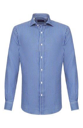 Мужская льняная рубашка RALPH LAUREN синего цвета, арт. 790791906 | Фото 1