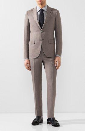 Мужская сорочка из смеси хлопка и льна BRIONI серого цвета, арт. RCLU0U/P907Y | Фото 2
