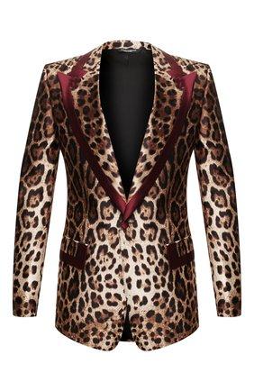 Мужской шелковый пиджак DOLCE & GABBANA коричневого цвета, арт. G20H2T/IS1B8 | Фото 1