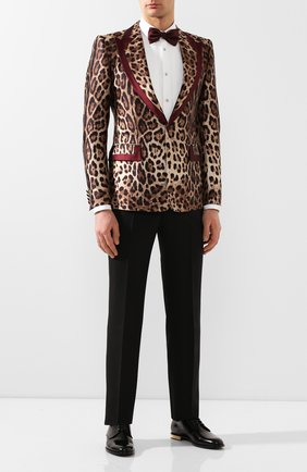 Мужской шелковый пиджак DOLCE & GABBANA коричневого цвета, арт. G20H2T/IS1B8 | Фото 2