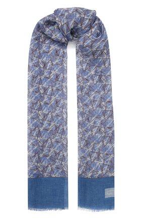 Мужской льняной шарф CORNELIANI синего цвета, арт. 85B343-0129046/00 | Фото 1