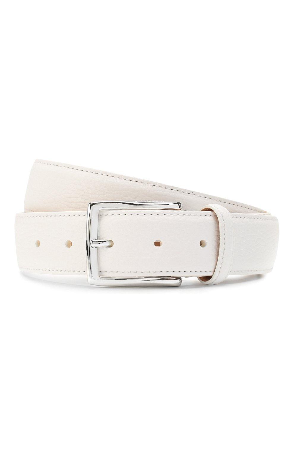 Мужской кожаный ремень CORNELIANI белого цвета, арт. 85V316-0120826/00 | Фото 1