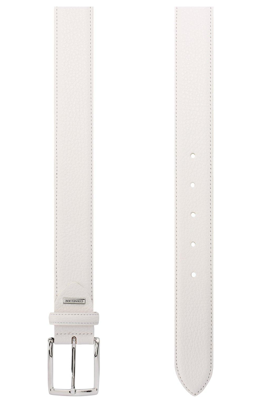 Мужской кожаный ремень CORNELIANI белого цвета, арт. 85V316-0120826/00 | Фото 2
