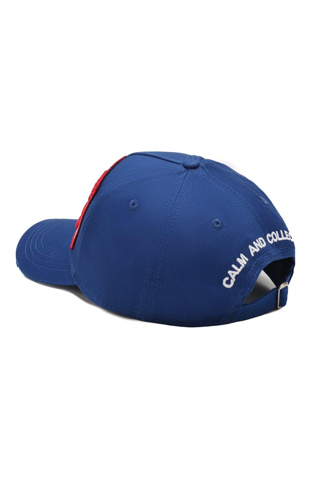 Мужской хлопковая бейсболка DSQUARED2 синего цвета, арт. BCM0274 05C00001   Фото 2
