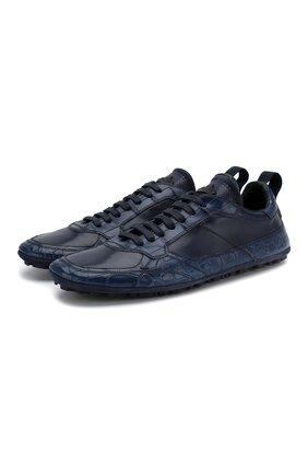 Мужские кроссовки из кожи крокодила DOLCE & GABBANA синего цвета, арт. A20118/A2U72/CNIL | Фото 1