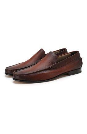 Мужские кожаные лоферы SANTONI коричневого цвета, арт. MCPT15539LA5SDPSC48   Фото 1