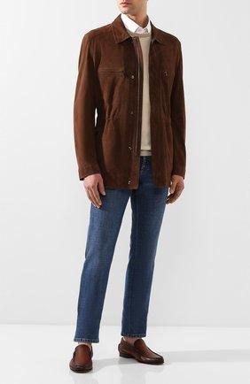 Мужские кожаные лоферы SANTONI коричневого цвета, арт. MCPT15539LA5SDPSC48   Фото 2