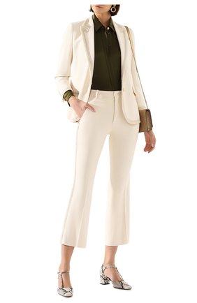 Женские брюки из вискозы GUCCI белого цвета, арт. 609698/ZKR01   Фото 2