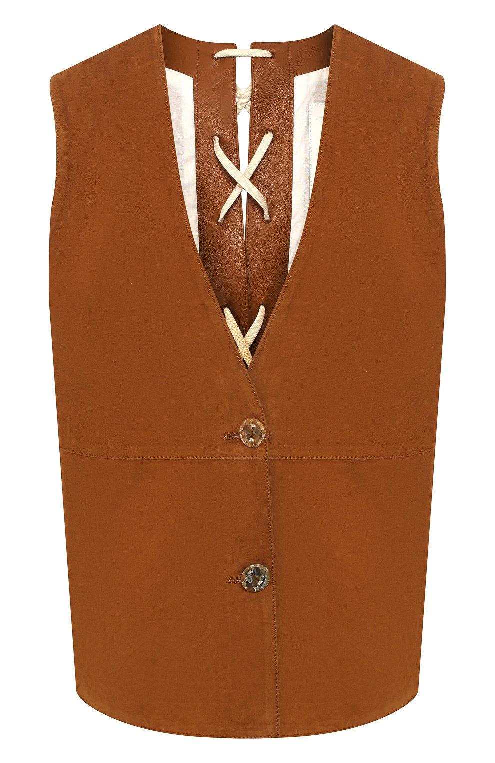 Женский замшевый жилет TWINS FLORENCE коричневого цвета, арт. TWFPE20GIL0001   Фото 1