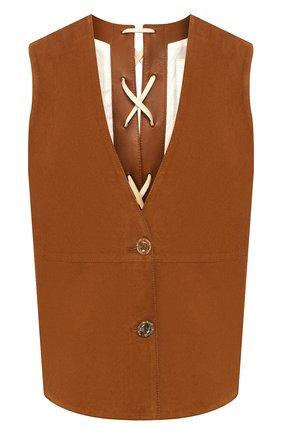 Женский замшевый жилет TWINS FLORENCE коричневого цвета, арт. TWFPE20GIL0001 | Фото 1
