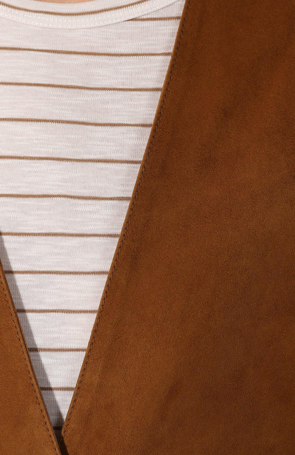 Женский замшевый жилет TWINS FLORENCE коричневого цвета, арт. TWFPE20GIL0001   Фото 5