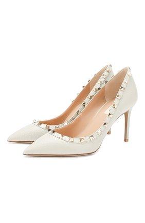 Женская кожаные туфли valentino garavani rockstud VALENTINO светло-серого цвета, арт. TW0S0A04/VCE | Фото 1