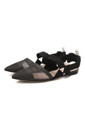 Женские текстильные балетки FENDI черного цвета, арт. 8J7009 A8UG | Фото 1