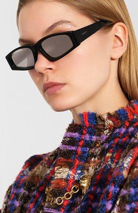 Мужские солнцезащитные очки GUCCI черного цвета, арт. 610879/J0740   Фото 2