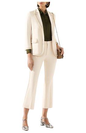 Женский жакет из вискозы GUCCI белого цвета, арт. 610946/ZKR01 | Фото 2