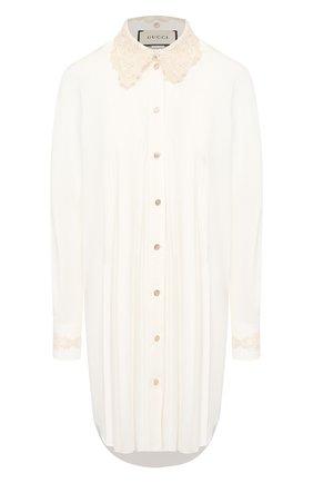 Женская хлопковая рубашка GUCCI белого цвета, арт. 609447/ZADQ4   Фото 1