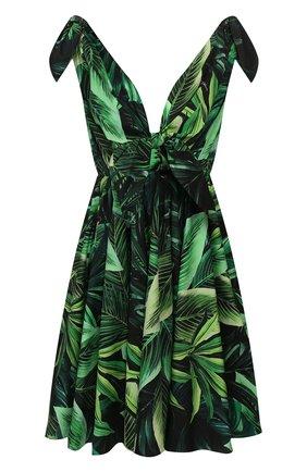 Женское хлопковое платье DOLCE & GABBANA зеленого цвета, арт. F6I3KT/HS5HE | Фото 1
