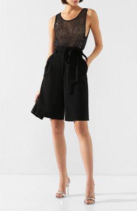 Женские шерстяные шорты VALENTINO черного цвета, арт. TB0RD0755J2 | Фото 2