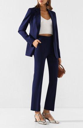 Женские шерстяные брюки GABRIELA HEARST темно-синего цвета, арт. 320204 W017 | Фото 2