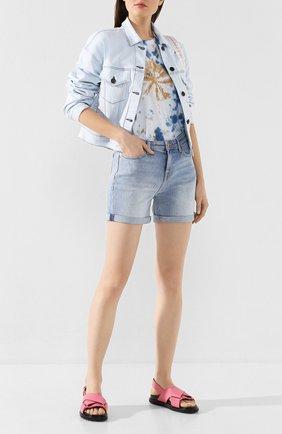 Женские джинсовые шорты 7 FOR ALL MANKIND голубого цвета, арт. JSWUA500IH | Фото 2