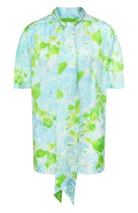 Женская шелковая блузка BALENCIAGA зеленого цвета, арт. 602571/TILE8 | Фото 1