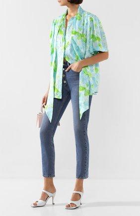 Женская шелковая блузка BALENCIAGA зеленого цвета, арт. 602571/TILE8 | Фото 2