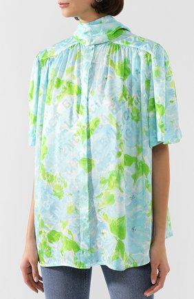 Женская шелковая блузка BALENCIAGA зеленого цвета, арт. 602571/TILE8 | Фото 3