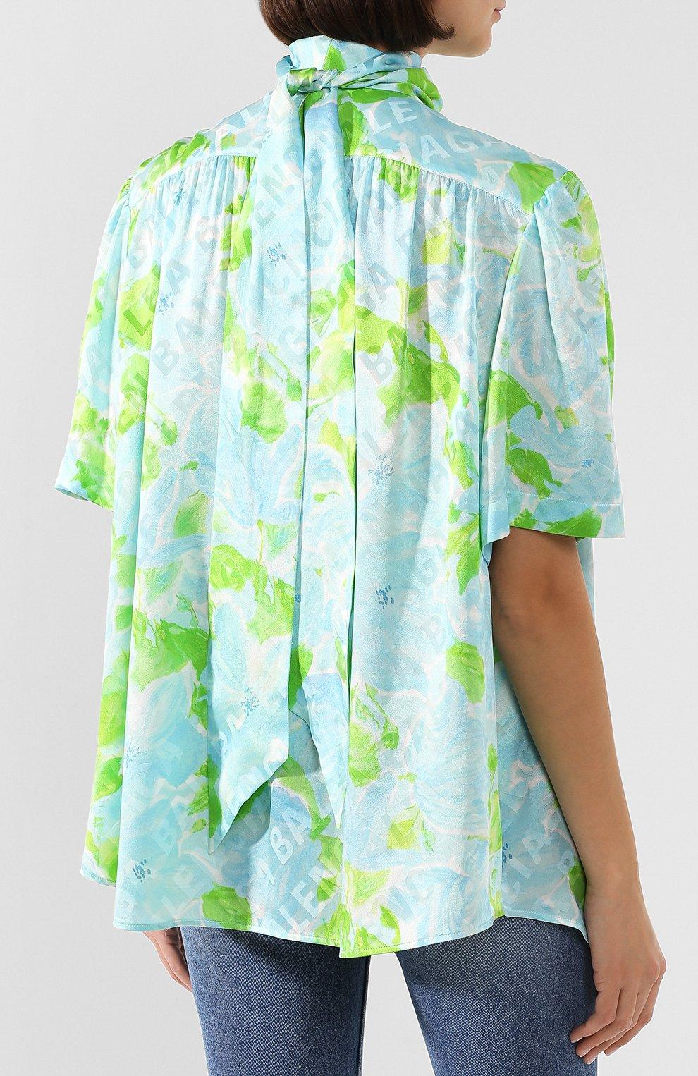 Женская шелковая блузка BALENCIAGA зеленого цвета, арт. 602571/TILE8 | Фото 4