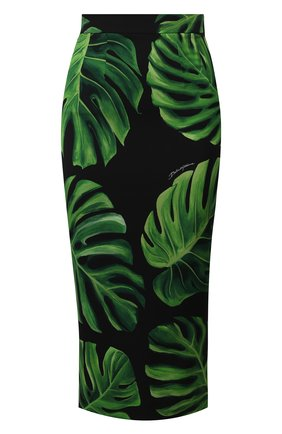 Женская шелковая юбка DOLCE & GABBANA зеленого цвета, арт. F4BU0T/FSA0C | Фото 1