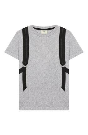 Детская хлопковая футболка FENDI серого цвета, арт. JUI009/7AJ/3A-6A | Фото 1