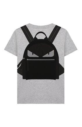 Детская хлопковая футболка FENDI серого цвета, арт. JUI009/7AJ/3A-6A | Фото 2
