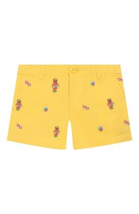 Детские хлопковые шорты POLO RALPH LAUREN желтого цвета, арт. 312784535 | Фото 1