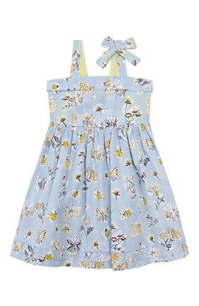 Детское хлопковое платье IL GUFO голубого цвета, арт. P20VA253C4059/5A-8A | Фото 1