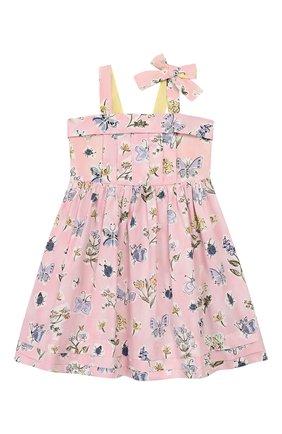 Детское хлопковое платье IL GUFO розового цвета, арт. P20VA253C4059/5A-8A | Фото 1