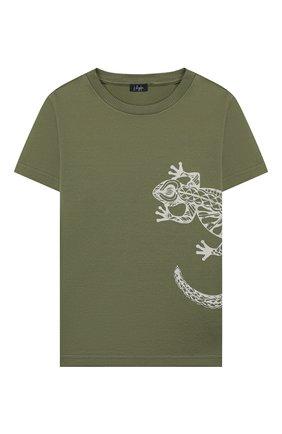 Детская хлопковая футболка IL GUFO хаки цвета, арт. P20TS221M7011/5A-8A | Фото 1