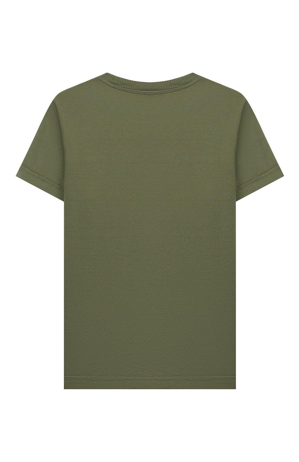 Детская хлопковая футболка IL GUFO хаки цвета, арт. P20TS221M7011/5A-8A | Фото 2