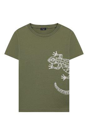 Детская хлопковая футболка IL GUFO хаки цвета, арт. P20TS221M7011/2A-4A | Фото 1