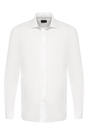 Мужская хлопковая сорочка ERMENEGILDO ZEGNA белого цвета, арт. 701313/9MS0M2 | Фото 1